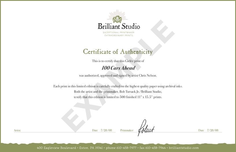 Certificate of Authenticity - Small Print Example or Sample